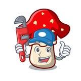 Plumber amanita mushroom mascot cartoon Stock Photos