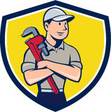 Plumber Arms Crossed Crest Cartoon Royalty Free Stock Images
