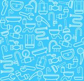 Plumber, background, seamless, sanitary tool, blue. Royalty Free Stock Images