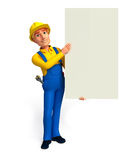 Plumber with big sign Stock Image