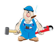 Plumber in blue uniform Stock Photo
