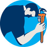 Plumber Bowing Holding Monkey Wrench Circle Retro Royalty Free Stock Images