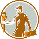 Plumber Carry Toolbox Wrench Circle Woodcut Royalty Free Stock Photography