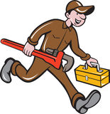 Plumber Carrying Monkey Wrench Toolbox Cartoon Royalty Free Stock Image