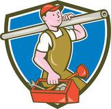 Plumber Carrying Pipe Toolbox Crest Cartoon Royalty Free Stock Image