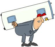 Plumber carrying water heater Royalty Free Stock Images