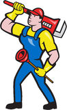 Plumber Carrying Wrench Plunger Cartoon. Illustration of a plumber holding carrying monkey wrench on shoulder and holding plunger done in cartoon style on Stock Photos