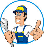 Plumber cartoon. Smile plumber cartoon isolated on withe Royalty Free Stock Photography