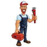 Plumber Cartoon Mascot Vector. Illustration Royalty Free Stock Photo