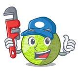 Plumber cartoon ripe melon fruit in the kitchen stock illustration