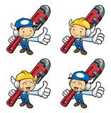 Plumber Character Best gesture and holding the pipe wrench. Royalty Free Stock Photography