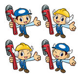 Plumber Character is holding the pipe wrench. Royalty Free Stock Image