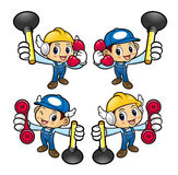 Plumber Character is holding the plunger pump and phone. Royalty Free Stock Photo