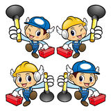Plumber Character is holding the plunger pump and toolbox. Stock Images