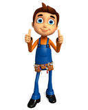Plumber character with thumbs up pose Stock Photography