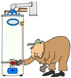 Plumber checking a gas water heater Royalty Free Stock Images