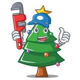 Plumber Christmas tree character cartoon. Vector illustration Stock Image