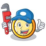 Plumber chronometer character cartoon style Royalty Free Stock Image