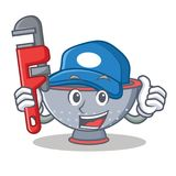 Plumber colander utensil character cartoon Stock Photography