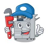 Plumber copier machine next to character chair. Vector illustration stock illustration