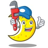 Plumber crescent moon character cartoon Royalty Free Stock Photography