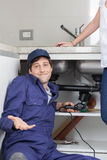 Plumber doesn't knows what to do Royalty Free Stock Photography