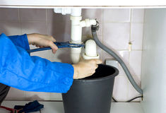 Plumber drain pipes Stock Images