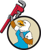 Plumber Eagle Raising Up Pipe Wrench Circle Cartoon Stock Images