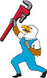 Plumber Eagle Standing Pipe Wrench Cartoon Stock Photos
