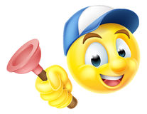 Plumber Emoji Emoticon with Plunger. Cartoon emoji emoticon smiley face plumber character holding a sink or toilet plunger Royalty Free Stock Images