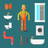 Plumber and Equipment Vector Illustration Stock Photo