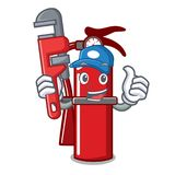 Plumber fire extinguisher mascot cartoon. Vector illustration Stock Image