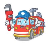 Plumber fire truck mascot cartoon. Vector illustration Royalty Free Stock Photo