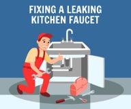 Plumber Fixing Leaking Kitchen Faucet Banner. Fixing Leaking Kitchen Faucet Banner Vector Illustration. Kitchen Interior. Plumber Master Wrench in Hand. Plumbing vector illustration