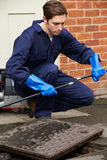 Plumber Fixing Problem With Drains Royalty Free Stock Photography