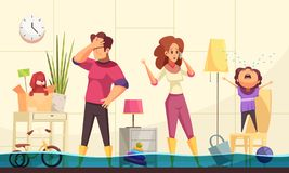 Free Plumber Flooded House Illustration Royalty Free Stock Image - 141288236