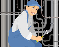 Plumber with a gas key Stock Image