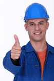Plumber the giving the go-ahead Royalty Free Stock Photo