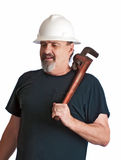 Plumber going to the work-site. Stock Image