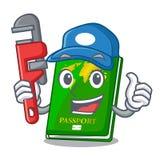 Plumber green passport on the mascot table. Vector illustration vector illustration