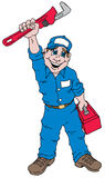 Plumber Guy. Cartoon image of a plumber holding a plumbers wrench Stock Photography