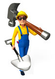 Plumber with hammer and spade Royalty Free Stock Image