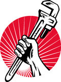 Plumber Hand Hold Monkey Wrench Stock Photos