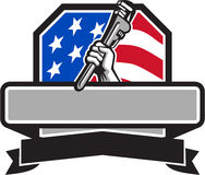 Free Plumber Hand Holding Pipe Wrench USA Flag Crest Retro Stock Photography - 83689162