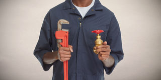 Plumber hands. royalty free stock images