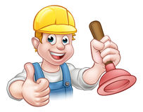 Plumber Handyman Holding Plunger. A handyman plumber cartoon character holding a plunger and giving a thumbs up Stock Photos