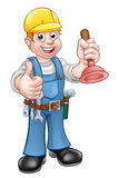 Plumber Handyman Holding Plunger. A handyman plumber cartoon character holding a plunger and giving a thumbs up Stock Images