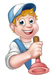 Plumber or Handyman Holding Toilet Plunger. A cartoon plumber or handyman holding toilet plunger Royalty Free Stock Photos