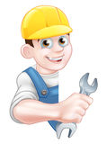 Plumber in Hardhat Holding Spanner Royalty Free Stock Photography