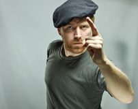 Plumber in hat with red beard Stock Image